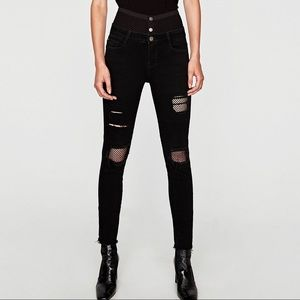 ZARA High waist jeans with mesh